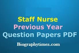 Gujarat Staff Nurse Old Paper PDF Download