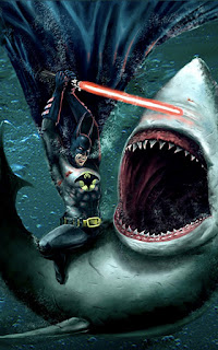 Batman Killing Sharks Laser Sword Mobile HD Wallpaper