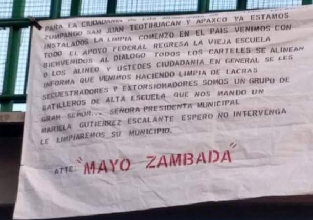Con todo respeto no vamos por usted , sino por los delincuentes y  lucharemos por el dominio del territorio, firmada por El Mayo Zambada.