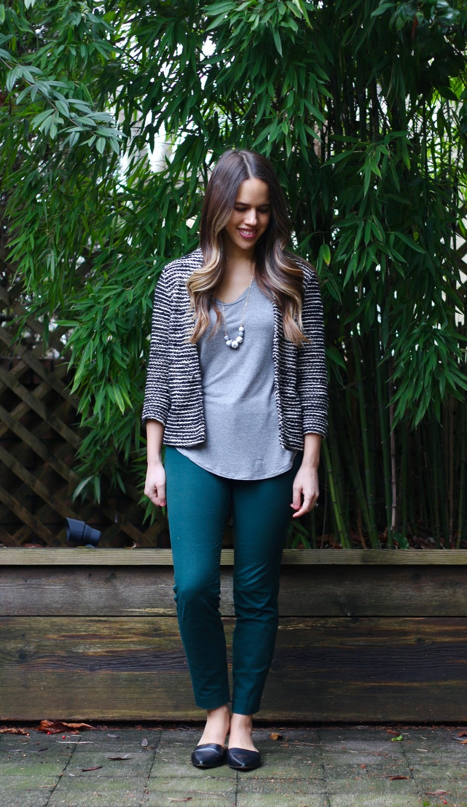 Jules in Flats - Tweed Striped Jacket Blazer with T-Shirt and Skinny Ankle Pants for Work (Business Casual Winter Workwear on a Budget)