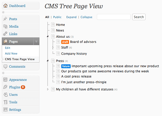 CMS Page Tree View