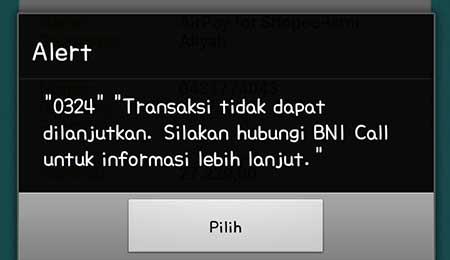"""Pesan Peringatan """"0324"""" di Aplikasi BNI Mobile Banking"""