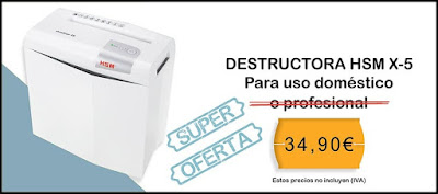Oferta destructora de papel y documentos HSM X-5 por 34,90€
