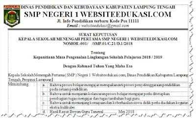 Contoh SK Panitia MPLS Tahun 2019