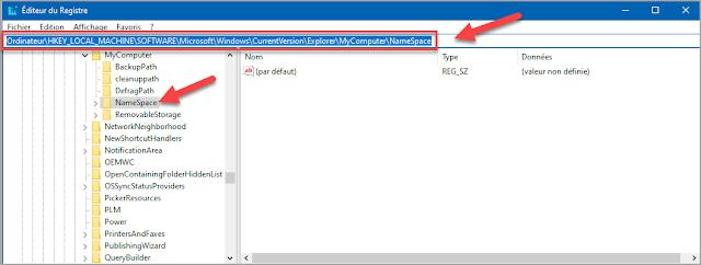 ajouter, raccourci, corbeille, ce PC, explorateur de fichier, Windows 10, trucs et astuces