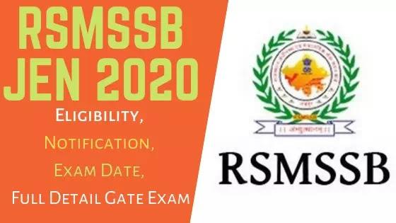 RSMSSB JEN Notification 2020 1054 JEN Recruitment