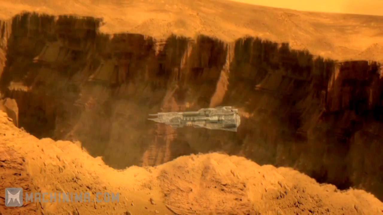 Red Faction Origins battleship in Mars canyon