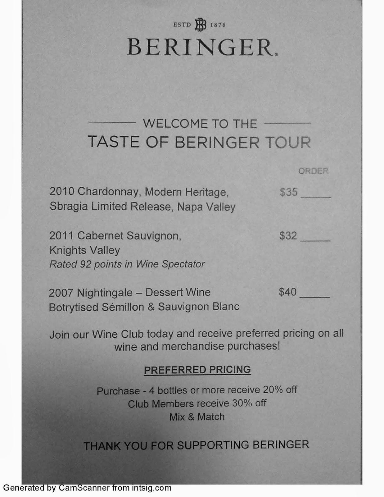 Beringer tour menu