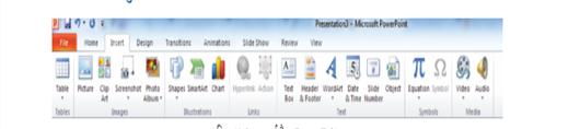 इन्सर्ट मेनू / टैब (insert menu/tab)