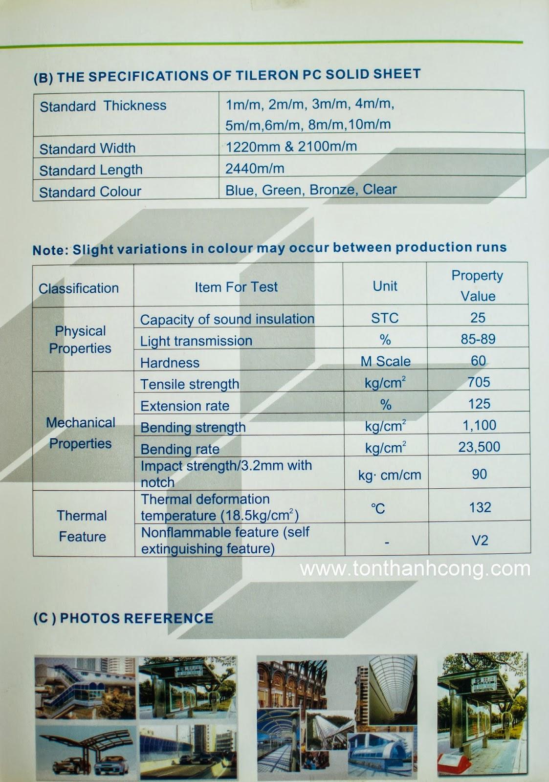 Catalogue Tấm Lấy Sáng Polycarbonate Đặc Ruột Tileron- Trang 4