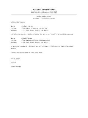 Business Authorization Letter Sample