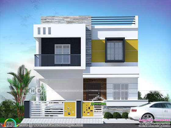 1653 square feet 3 BHK modern flat roof house plan
