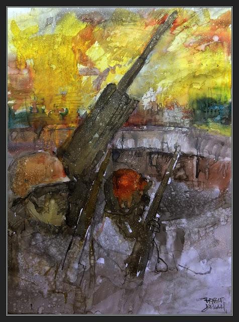 FLAKTURM-BERLIN-ART-PINTURA-ARTE-FLAK TOWER-BATALLA DE BERLIN-BUNQUER-ARTILLERIA-SOLDADOS-ALEMANES-ACUARELAS-ARTISTA-PINTOR-ERNEST DESCALS-
