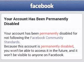 حساب فيسبوك معطل دائم