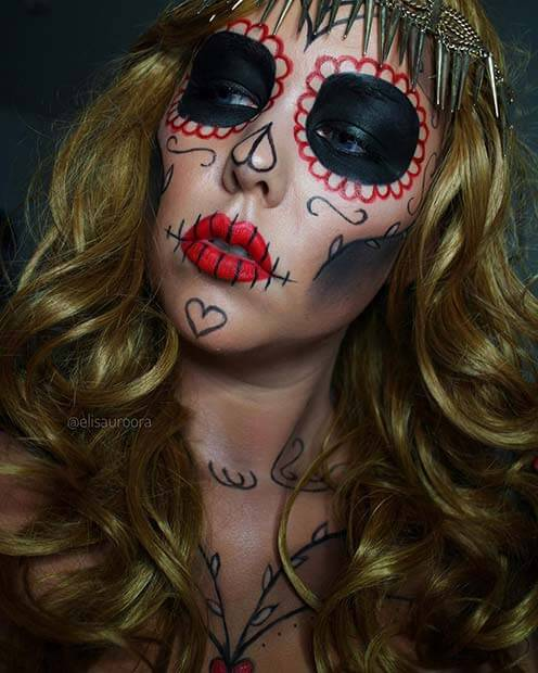 One of the latest popular makeup styles for Halloween day is the sugar skull design 21+ Last-Minute Sugar Skull Halloween Makeup Ideas for 2019