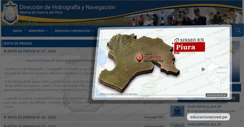 Potente sismo en Piura NO genera Tsunami, informó la Marina de Guerra del Perú - www.dhn.mil.pe