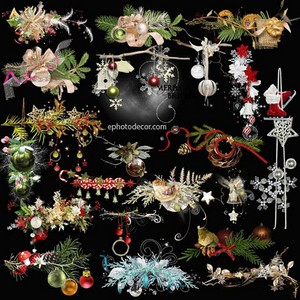 Winter flower clusters of Christmas and New year clipart PNG