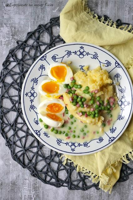 Eier in Erbsen-Schinken-Soße | Rezept | Kochen | Kartoffeln | Essen | Weight Watchers
