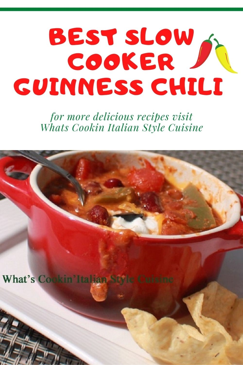this is a red pot of Guinness Chili