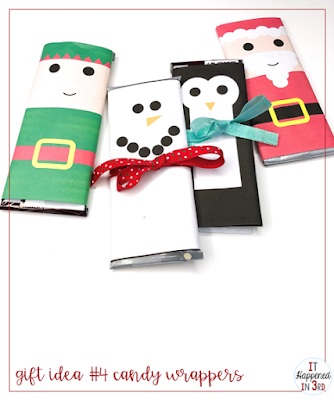 Picture of candy bars with elf, snowman, penguin, and Santa wrappers