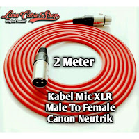 kabel mic 2 meter male to female kabel merah, jack canon neutrik.