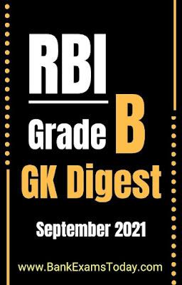 RBI Grade B GK Digest: September 2021