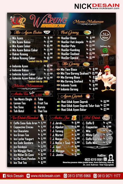 Contoh Desain List Menu / Buku Menu/ Daftar Menu Warung Ramekan | Percetakan Murah Tanjungbalai