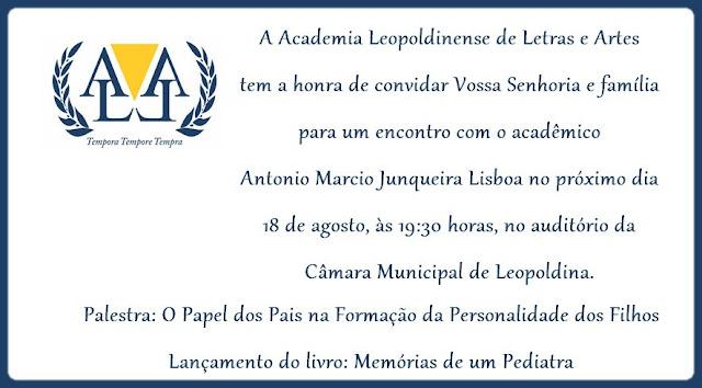 Convite para lançamento de livro e palestra do acadêmico Antonio Marcio
