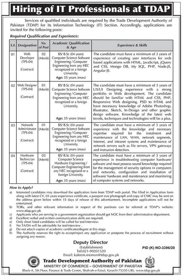 TDAP Trade Development Authority of Pakistan Karachi Jobs 2021