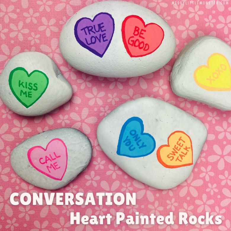Conversation heart painted rocks