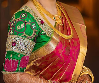 b37854854507fc This Blouse with its heavy maggam work is best suited for brides to pair  with their wedding or reception pattu sarees. here the blouse has stonework  ...