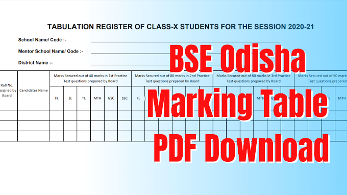 BSE odisha Marking Table for 10th class mark 2021