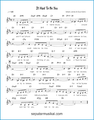 It Had to Be You chords jazz standar