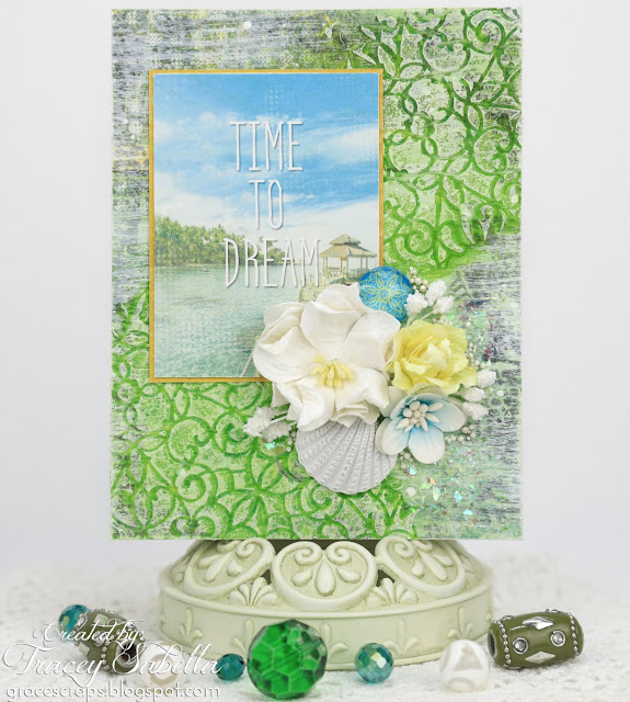 Mixed Media Card, Summer, by Tracey Sabella for ScrapBerry's