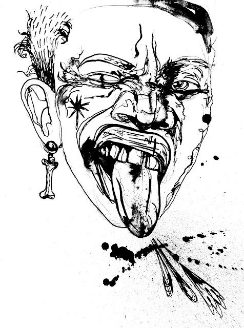 Sketchy Ink Splatter Face