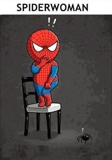 Funny Scared Spider Woman Cartoon Joke Picture