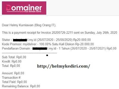 bukti pembelian domain