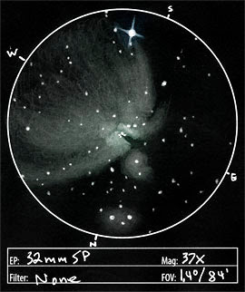Visual Observation of M42 - Orion Nebula Sketch by Jeremy Perez, Flagstaff, AZ.