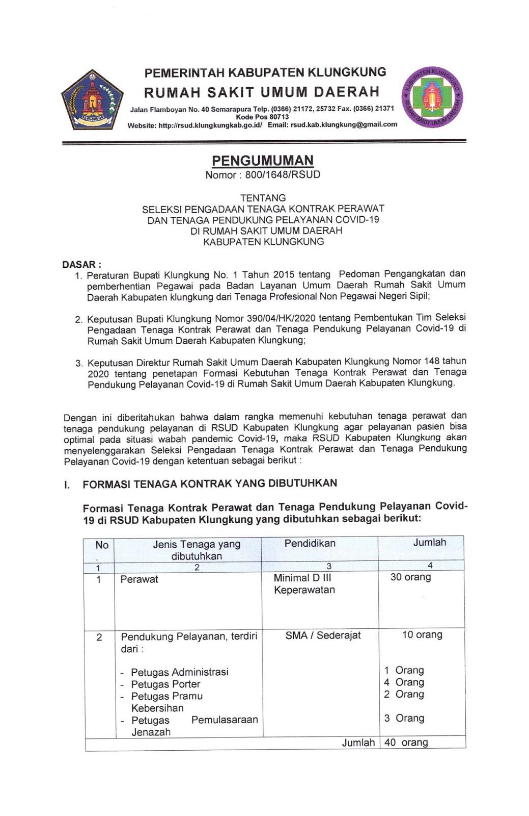 Lowongan Kerja RSUD Kabupaten Klungkung