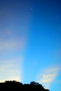 sunrise, moonrise, blue sky