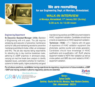 Zydus Cadila Healthcare Ltd  Required for ITI And Diploma Holders Walk In Interview at Moraiya, Ahmedabad, 17th January 2021