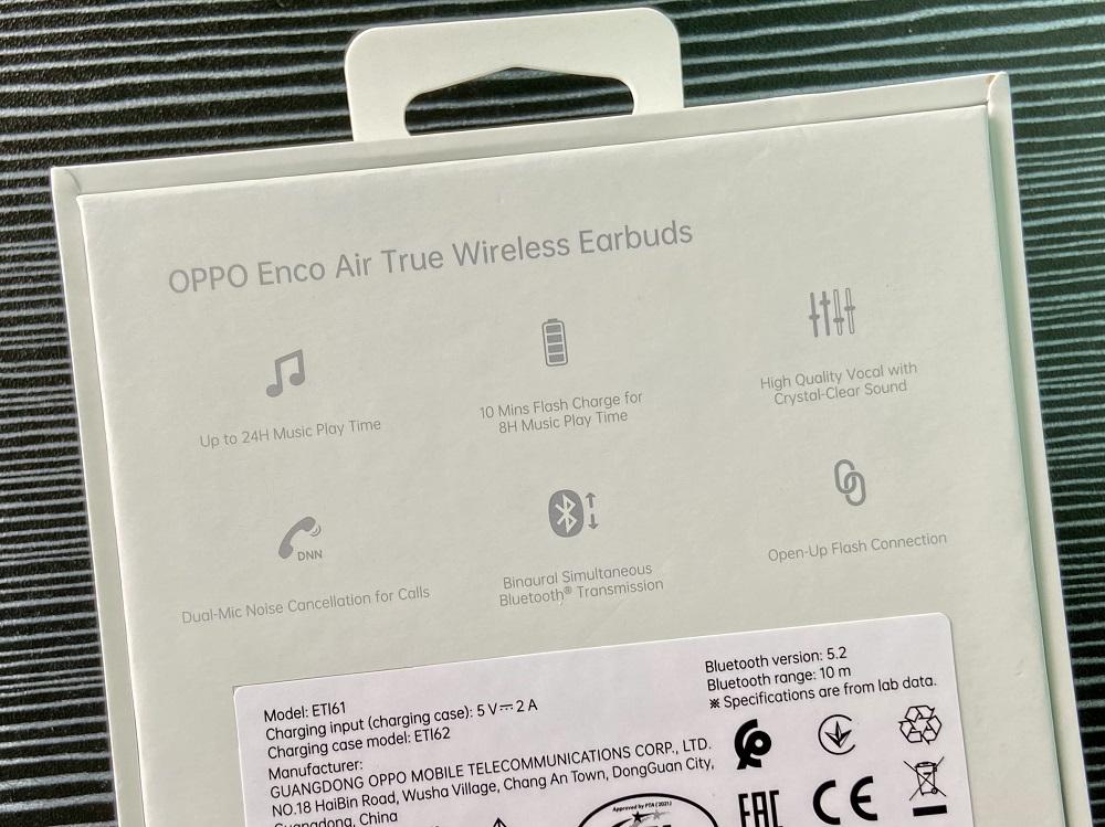 OPPO Enco Air (W32) Retail Box Back