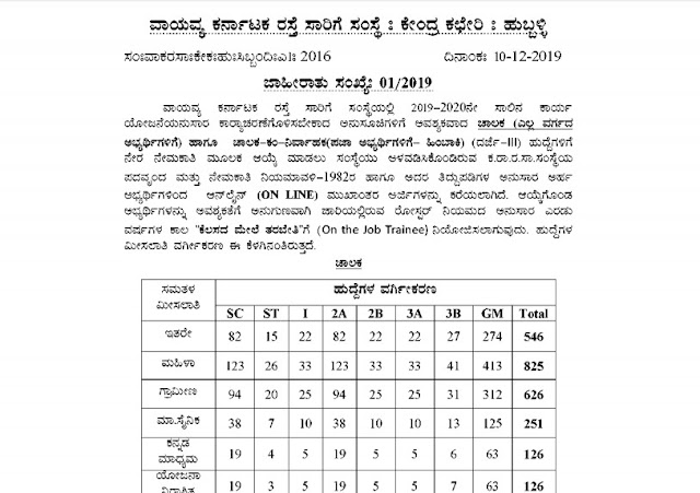 NWKRTC Recruitment 2019 Official Pdf Notification