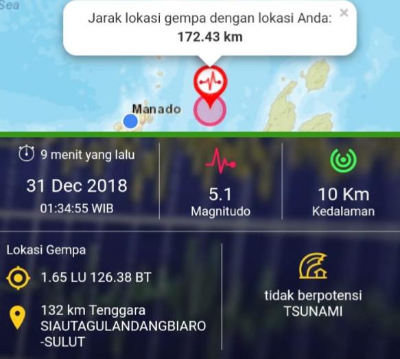Kota Manado Rasakan Gempa yang Menguncang Sitaro Magnitudo 5.1