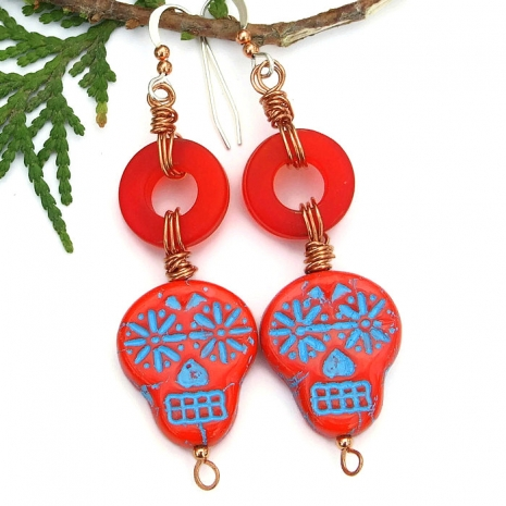 day of the dead sugar skull earrings gift for women