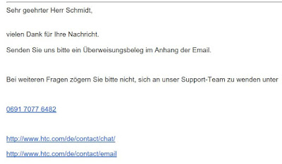 Screenshot: Reaktion von HTC auf mein Supportticket