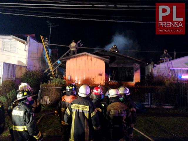 Osorno: incendio destruye vivienda del sector de Francke