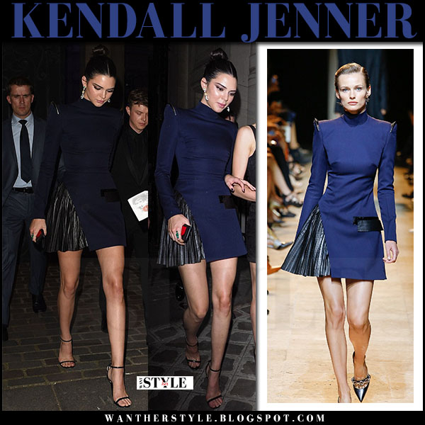 Kendall Jenner in dark navy mini dress from Mugler what she wore july 4 2017 paris