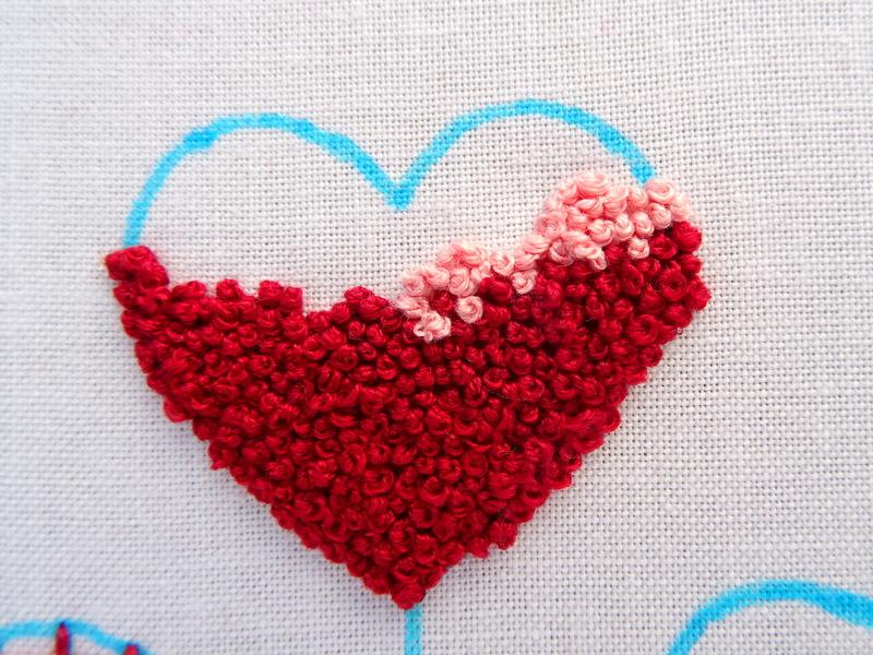 Hướng dẫn thêu trái tim bằng mũi sa hạt - Hình 3