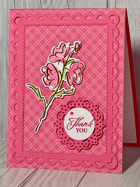 Polished Pink Handmade Floral Thank You card using Color & Contour Stamp Set from Stampin' Up!